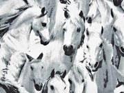 Jersey Pferde Digitaldruck, schwarz weiß