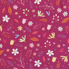 Baumwollstoff Blumen Blätter beschichtet, bordeaux