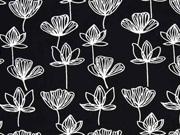 Viskose Seerosen Blumen schwarz