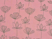 Viskose Seerosen Blumen altrosa mattes grün
