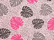 Musselin Double Gauze Palmblätter, rosa
