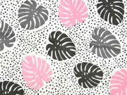 Musselin Double Gauze Palmblätter, weiß rosa
