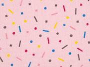 Musselin Double Gauze bunte Punkte Streusel, rosa
