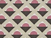 Dekostoff Geometrical Leinenlook, altrosa