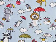 Baumwollstoff Tiere Regenschirm, hellblau