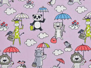 Baumwollstoff Tiere Regenschirm, flieder