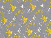 Baumwollstoff Kolibris Feliz, senfgelb grau