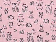 Sweatstoff French Terry Bären Igel Füchse, rosa