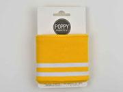 Fertigbündchen Streifen College Stil, weiß gelb