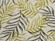 Leinenlook Dekostoff Palmblätter, khaki