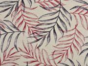 Leinenlook Dekostoff Palmblätter, grau dunkelrot