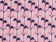 Baumwollstoff Blumen Feliz, dunkelblau rosa