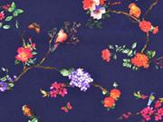 Baumwollstoff Blumen Vögel Digitaldruck, dunkelblau