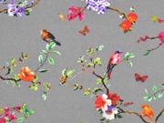 Baumwolle Blumen Vögel Digitaldruck, grau