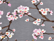 Modaljersey Kirschblüten Zweige, grau