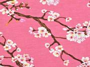 Modaljersey Kirschblüten Zweige, altrosa