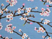 Modaljersey Kirschblüten Zweige, rauchblau