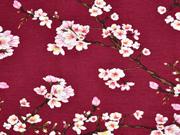 RESTSTÜCK 86 cm Modaljersey Kirschblüten Zweige, weinrot