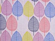 Canvas Stoff bunte Blätter, rosa