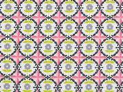 Baumwolle Blumen Ornamente, rosa grau weiß