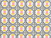 Baumwollstoff Blumen Ornamente, grau ocker weiß