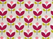 Canvas Tulpen , weinrot beige
