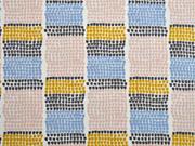 Canvas  Farbblöcke kleine Halbkreise, blau ocker cremeweiß
