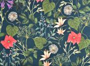 Canvas Stoff Blumen Blätter Digitadruck, coralle aprikot auf dunkelgrün