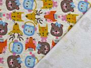 RESTSTÜCK 73 cm Sweatstoff  Hirsche Bären Katzen angeraut, senfgelb braun hellgrau meliert