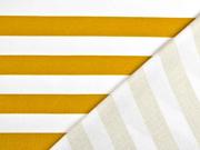 Sweat French Terry Streifen 2,4 cm, weiß currygelb