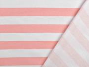 Sweat French Terry Streifen 2,4 cm, weiß lachsrosa