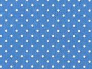 Baumwollstoff kleine Punkte Petite Dots, weiß indigo blau