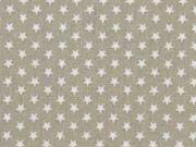 Baumwollstoff kleine Sterne Mini Stars, weiß hellbeige