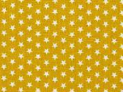 Baumwollstoff kleine Sterne Mini Stars, weiß ocker