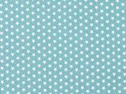 Baumwollstoff kleine Sterne Mini Stars, weiß mint