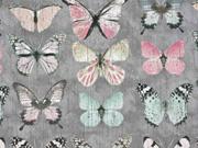 RESTSTÜCK 30 cm Canvas Stoff Schmetterlinge Digitaldruck, rosa grau