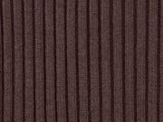 RESTSTÜCK 13 cm Rippenbündchen Hipster-Beanie Stoff, dunkelbraun