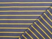 RESTSTÜCK 88 cm Sweat Stoff French Terry schmale Streifen, ocker taupe