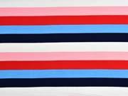 Sweat Stoff French Terry Streifen 2,4 cm, navy rot rosa