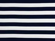 RESTSTÜCK 45 cm Sweat Stoff French Terry Streifen 2,4 cm, weiß dunkelblau