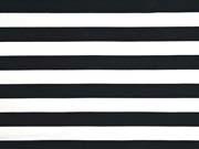 Sweat Stoff French Terry Streifen 2,4 cm, weiß schwarz