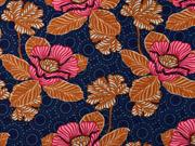 Baumwollstoff Blumen orientalisch, dunkelblau