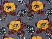 Baumwollstoff Blumen orientalisch, dunkelgrau
