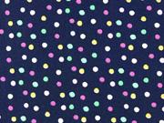 Baumwollstoff bunte Punkte, dunkelblau