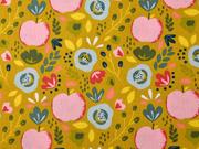 Baumwollstoff Äpfel Blumen, rosa mint ocker