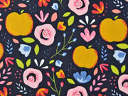 Baumwollstoff Äpfel Blumen, rosa ocker dunkelblau