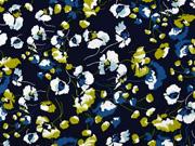 Viskose Stoff Blumen, khaki dunkelblau