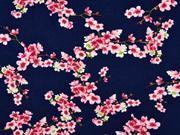 Soft Sweatstoff Kirschblüten Zweige, rosa dunkelblau
