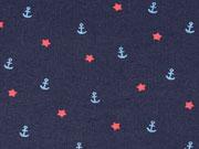Jersey Anker Sterne, rot hellblau dunkelblau