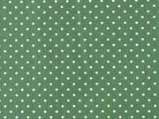 Baumwollstoff kleine Punkte Petite Dots, weiß dunkelgrün